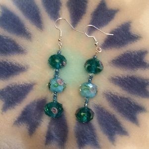 Hand Crafted Glass Bead Hanging Earrings